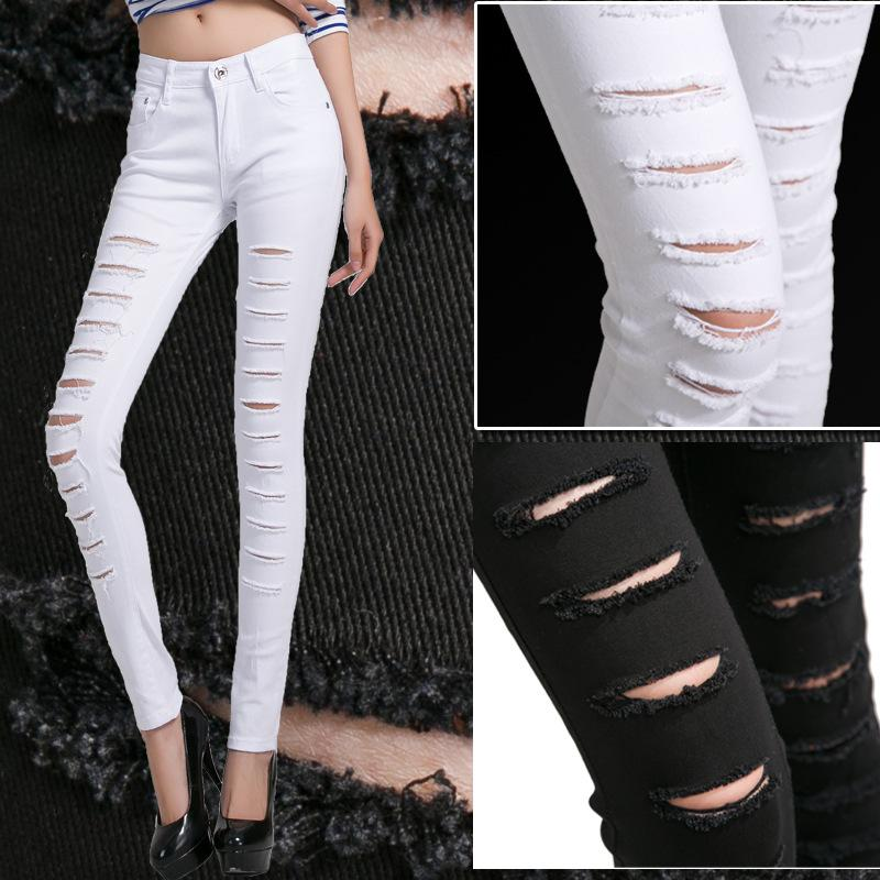 Best Quality Autumn Outfit New South Korea Beggar Ripped Jeans Female Black  Feet Pants Cultivate One'S Morality Show Thin Elastic White Pencil Pants At  ... - Best Quality Autumn Outfit New South Korea Beggar Ripped Jeans