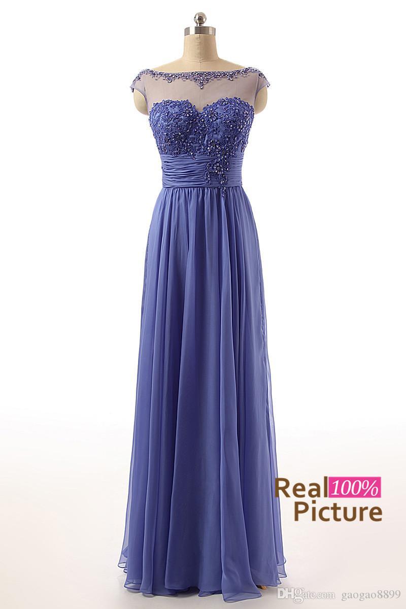 100 Real Image Lace Chiffon Long Bridesmaid Dresses Coral