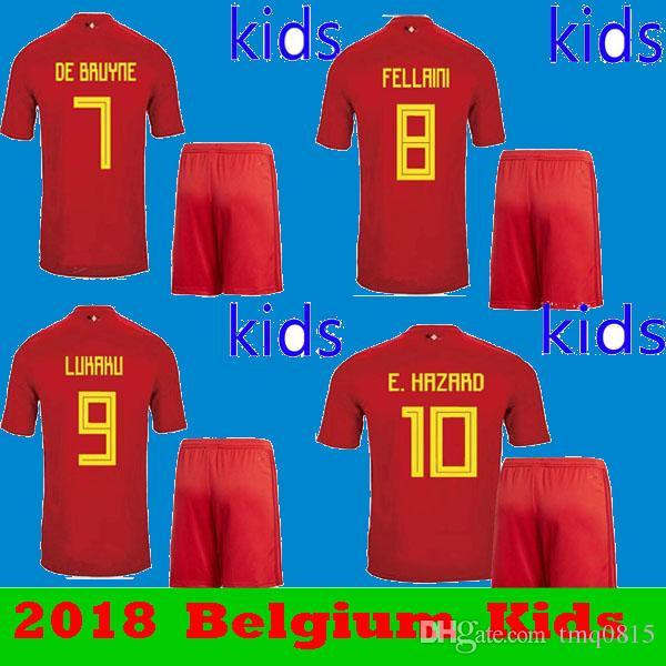 fdee50fbe8c08 Compre Niños 2018 2019 Bélgica Hazard Lukaku De Bruyne Inicio Uniformes De Fútbol  Rojo Conjunto 18 19 Niños Copa Del Mundo Meatens Fellaini Kompany Camisas  ...