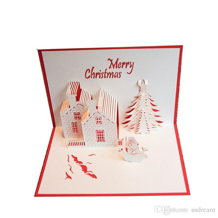 christmas card greeting cards 3d paper cutting castle christmas tree