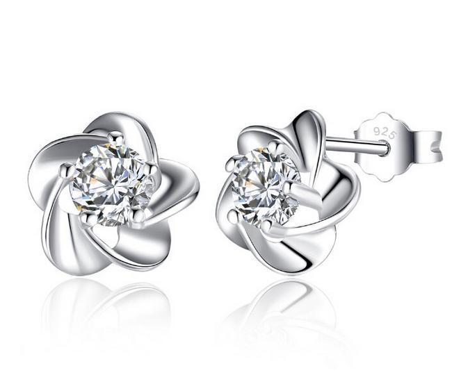 925 Sterling Silver Stud Earrings Fashion Jewelry Five Leaves Flower with Zirconia Crystal Elegant Style Earring for Women Girls MOQ