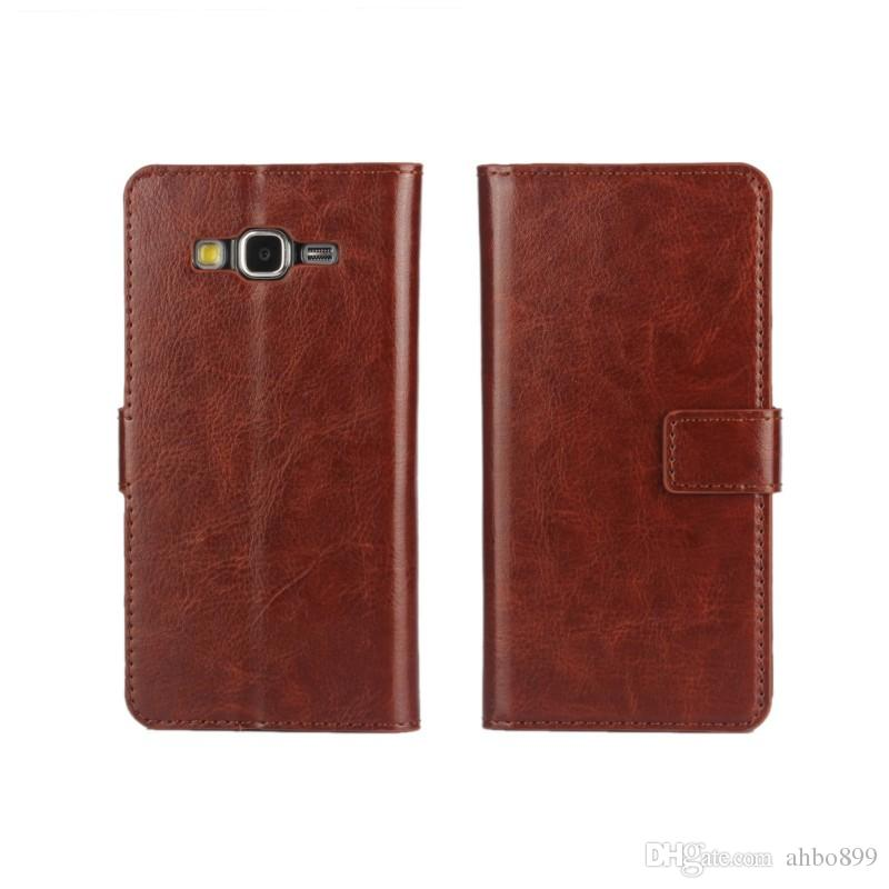Luxury Crazy Horse Pattern PU Leather Wallet Cover Case for Samsung Galaxy Grand Prime G530 With Stand Style and Card Holder