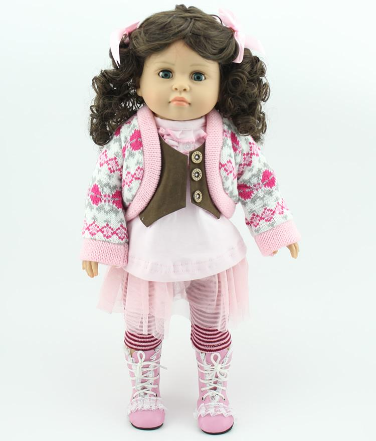 18'' 45cm American Girl Black Curly Hair Pink Cute Clothes ...