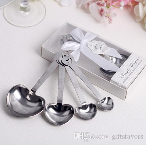 wedding return gifts Metal Heart Shaped Measuring Spoons for bridal shower party giveaways wholesales