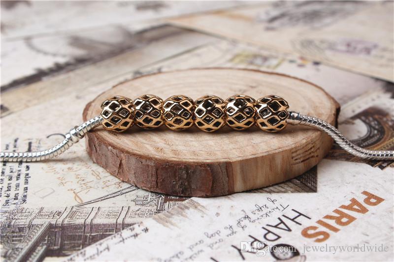 Lega di fascino Bead Net protezione placcato oro moda donna gioielli Stunning Design stile europeo la collana di bracciale Pandora