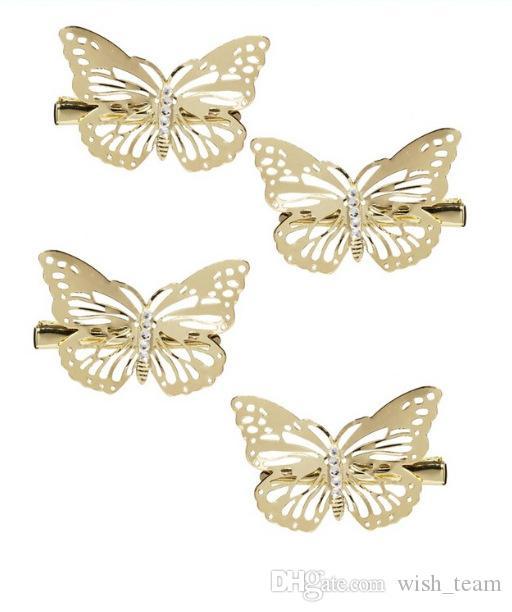 Bling bling oco borboleta grampos de cabelo grampo de cabelo para as mulheres menina moda top grade de cabelo cocar jóias w887