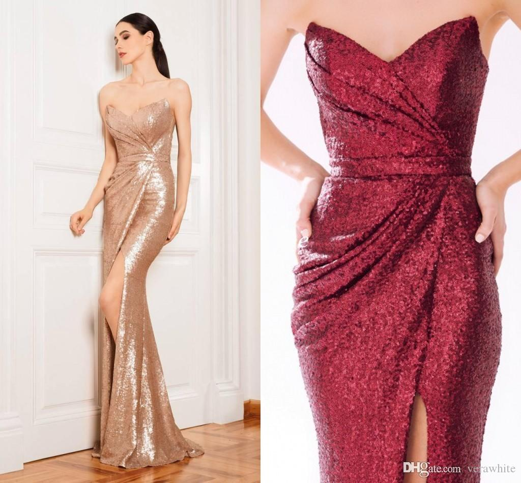 Sparkly Rose Gold Evening Dresses Long Sequins Prom Formal Gowns ...