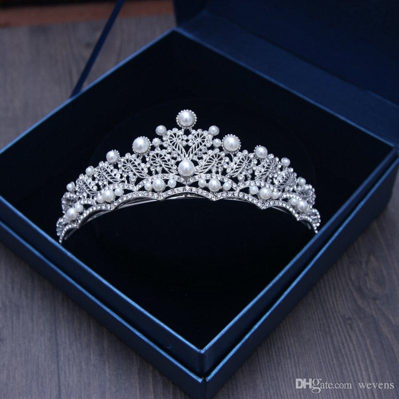 Cristalli d'argento di lusso corone di nozze perle shinning diademi nuziali strass testa pezzi fascia accessori capelli economici pageant corona