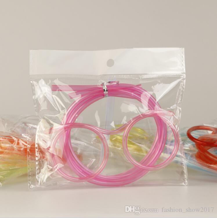 Lustiger weicher Glas-Strohhalm Einzigartiger flexibler Trinkschlauch Kinderparty-Zubehör Bunte rosa blaue Plastiktrinkhalme