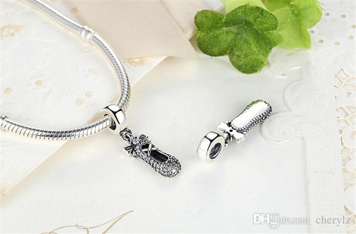 925 Sterling Silver Ballet Slipper Pendant Charm Fit Bracelet & Necklace With Shining Crystal DIY Jewelry Accessories Valentine Gift DCBJ496