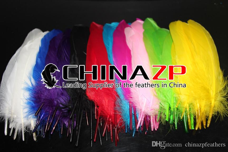 Exporting from Leading Supplier CHINAZP Crafts Factory 10~15cm4~6inch Dyed Navy Blue Goose Wing Loose Feathers for Stage Performances