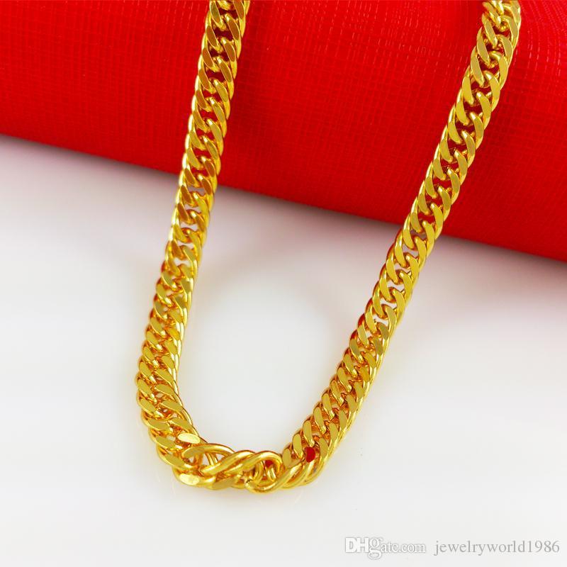 빠른 배송 무료 배송 괜 찮 아 요 웨딩 쥬얼리 MENS HEAVY 18K YELLOW GOLD FILLED CUBAN LINK CHAIN NECKLACE 20IN - SOLID