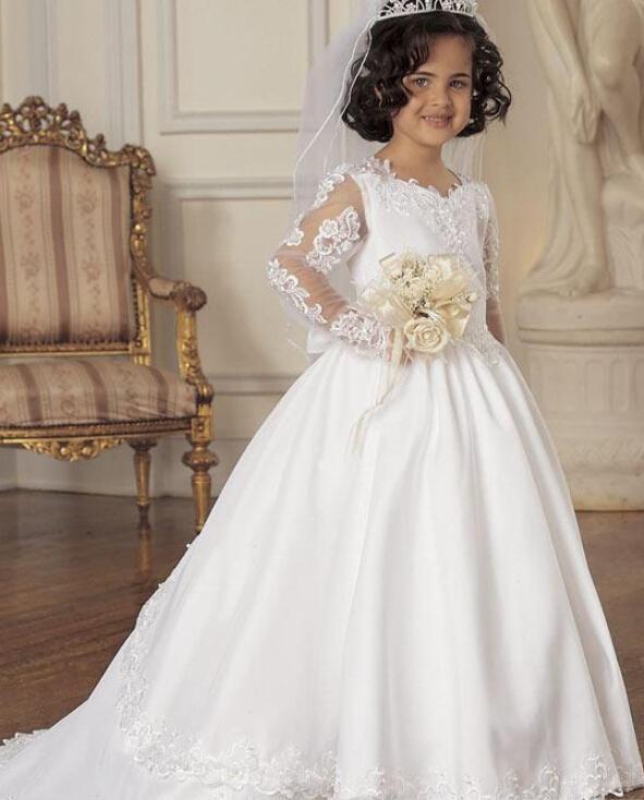 Custom Made flower girls dresses for weddings Party Cheap satin applique lace sweep train long sleeves little flower girl dresses children