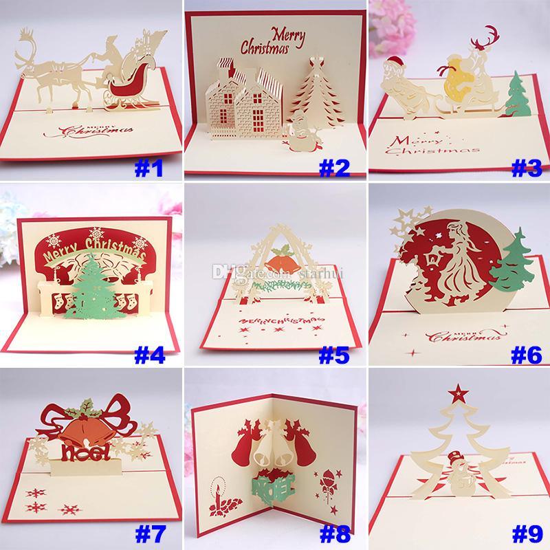 9 Tarjeta de Navidad de Diseño 3D Pop Up Tarjeta de Felicitación Invitaciones de Navidad Bell Party Tarjeta de Papel Recuerdos Personalizados Postales Regalo WX9-129