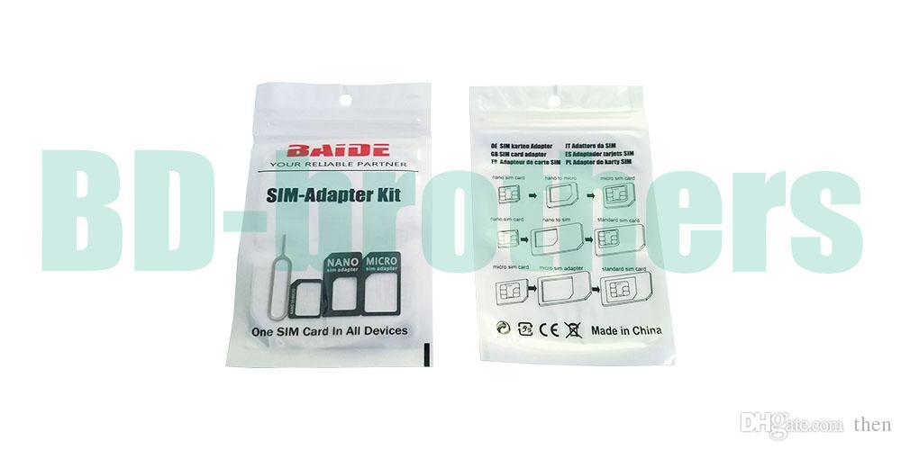 نوعية جيدة 4 في 1 نانو مايكرو سيم محول بطاقة + مفتاح إخراج ، محول بايد سيم لفون 5G 5S 5C 6 6Plus سامسونج 100 مجموعات / وحدة