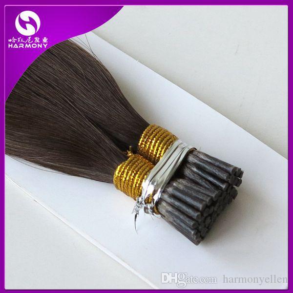 Brezilyalı Saç Keratin Ben Ucu Düz Önceden bağlanmış İnsan Saç Uzantıları 20 inç 1 Gram / strand 9 renkler