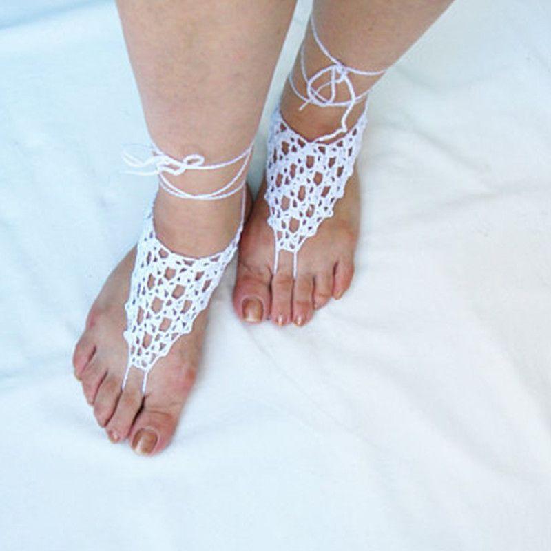 1d8fc91d4caef White Crochet Barefoot Sandals, Bridal Handmade crochet Barefoot Sandals,  Foot Jewelry, Wedding Gloves, Beach, Pool Jewelry