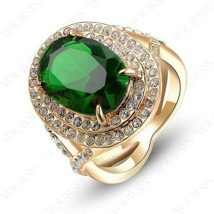 Yoursfs Brand Unisex Lover Rings Luxury Green Pink Austria Crystal Oval Shape Cocktail 18 K Rose Gold Plated Finger Men Ring Fashion Jewelry