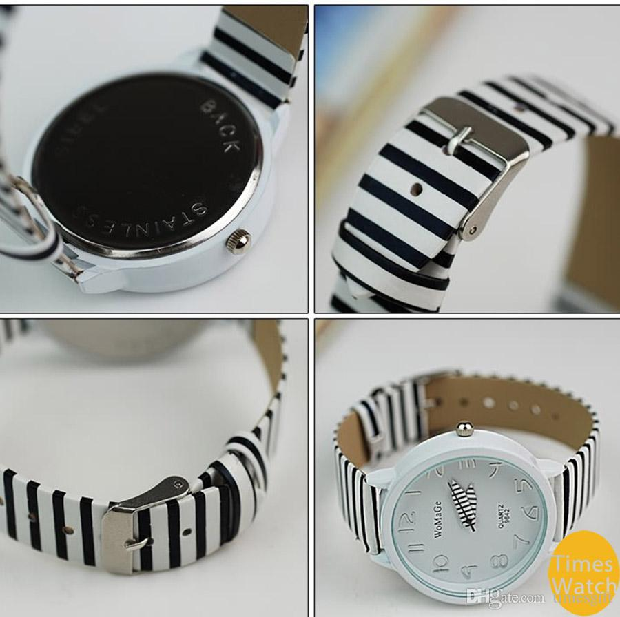 WoMaGe Ladies Women Fashion Color Stripes Strap Wrist Gift Watch Blue,white,pink,Christmas Gift