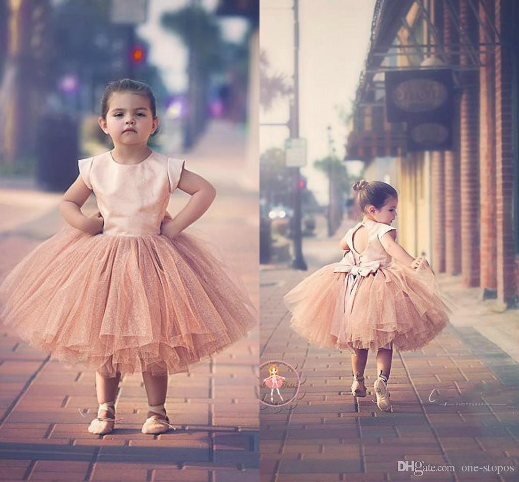 Cute Blush Pink Jewel Ball Gown Tea Length Flower Girls Dresses Keyhole Backless Pearl Bow Wedding Party Birthday Christmas Girl Gown BO8798
