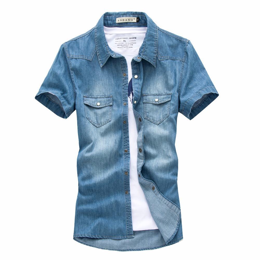 2018 Fg1509 Cool Men Denim Short Sleeve Shirts 2015 Summer Fashion ...