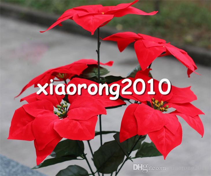 Rote Poinsettia-Blumen-Bündel 5 Köpfe / Stück 45cm / 17.72