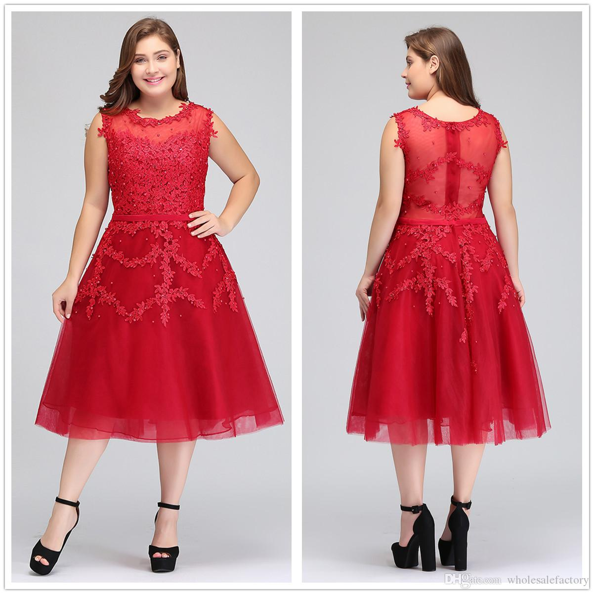 2018 Real Image Plus Size Red Lace Short Cocktail Dresses Tulle Lace Beaded Knee  Length A Line Formal Party Evening Dresses CPS298 Ladies Designer Dresses  ... f203372d0a1a