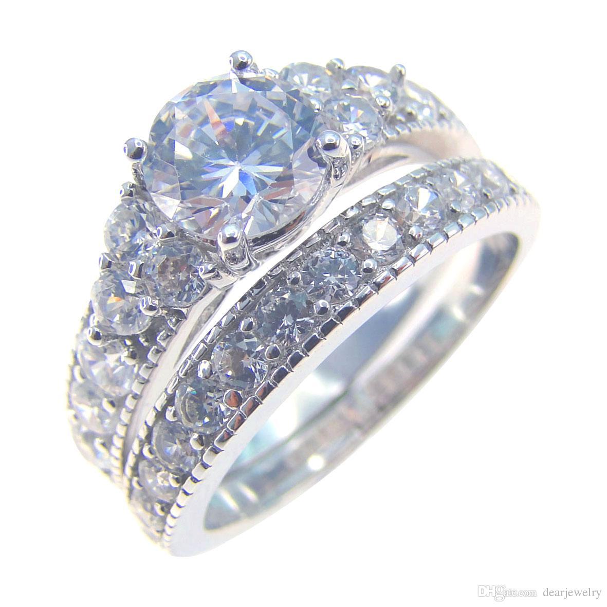 Fashion Jewelry Heart-shaped Green Colour Stone Wedding Ring Set 925 ...