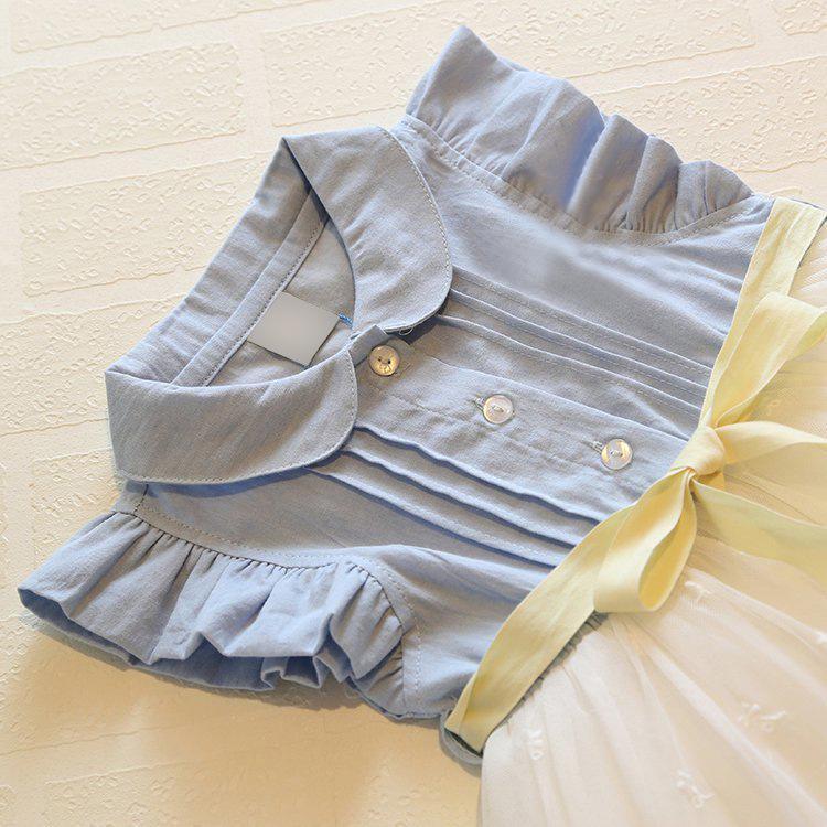 Rüschenärmel Mädchen Prinzessin Kleid Kinder ärmelloses Kleid Spitze Nähen Kleid Mädchen Prinzessin Kleid Jeans Tutu Kleid Baby Mädchen Spitze Tutu