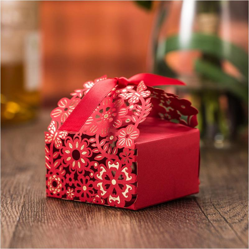 Cheap Wedding Favor Boxes Big Size Red Wedding Candy Box Casamento Flower Wedding Favors And Gifts Box