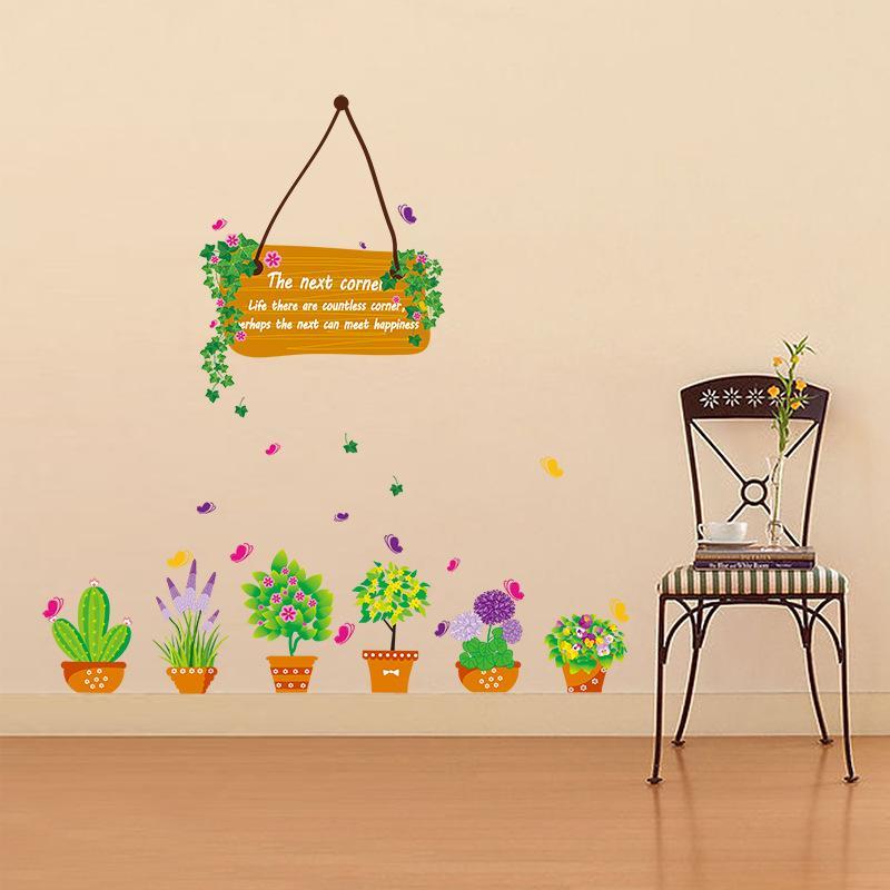 패션 꽃 가방 재배자 화분 벽 아트 벽화 장식 스티커 거실 벽 데칼 그래픽 화분 용 꽃 벽 Applique 포스터
