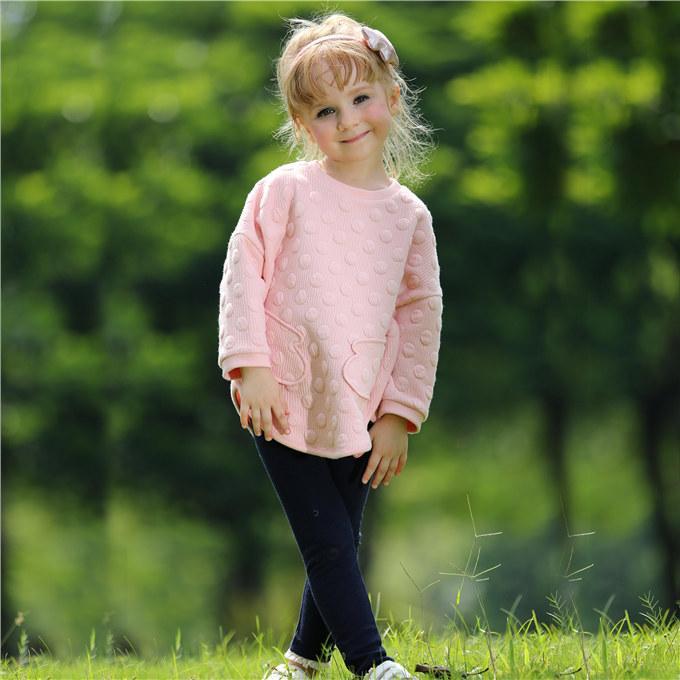 Pettigirl новое прибытие девушки одежда набор с точкой сверху и длинные брюки дети розовые наряды для осень Детская одежда CS80727-4F