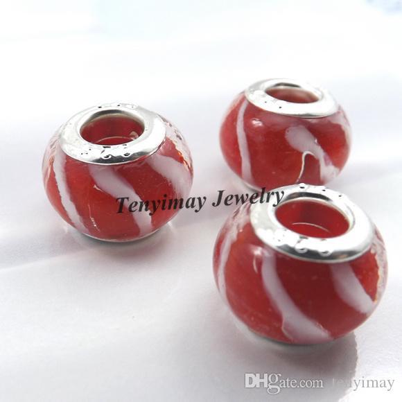 Murano Lampwork Glass Beads European Charm Beads Big Hole Beads para la pulsera de cadena de serpientes / lote al por mayor LB818
