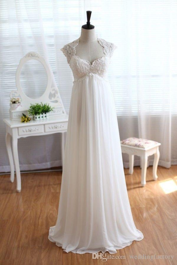 Vestidos de noiva nupcial do vintage Modest mangas império cintura Plus Size praia Chiffon estilo country Vestidos