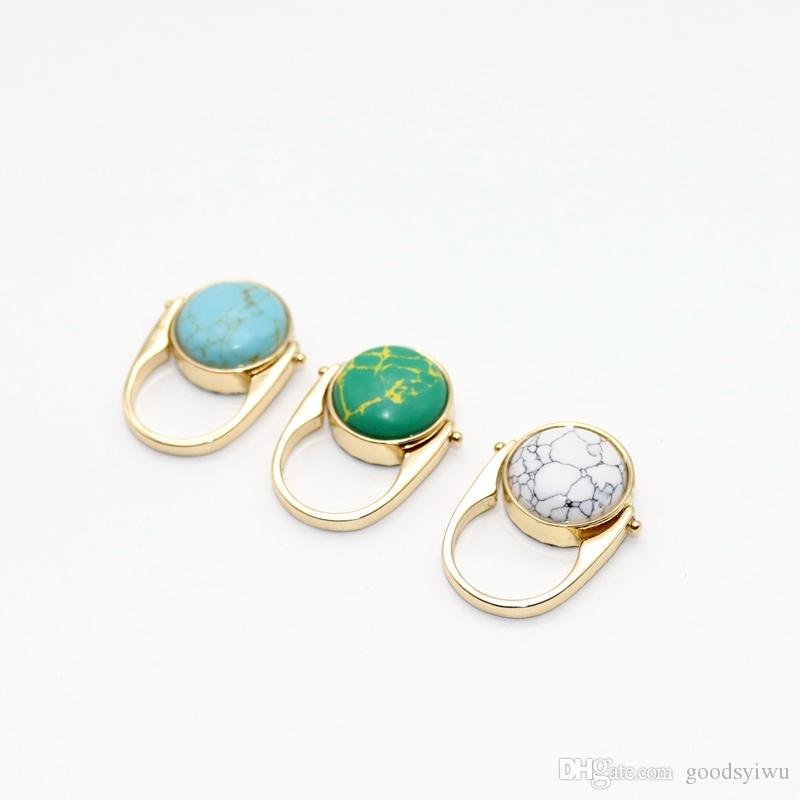 Fashion Double Sided Rotatable Rings Quartz Crystal Natural Round Marble Stone Rings Gold Color Inner Dia 1.7cm Jewelry