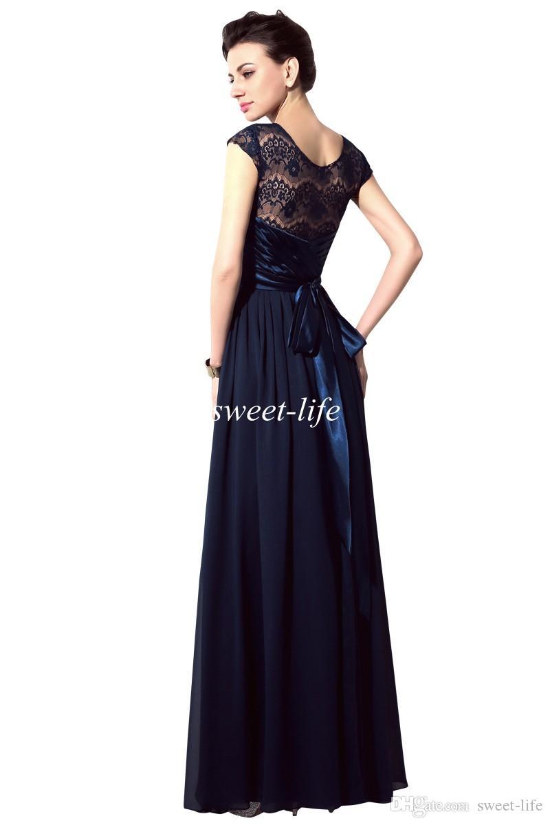2020 Donanma Mavi Dantel Gelinlik Modelleri Sheer Boyun Kanat Kısa Kollu Vintage Abiye giyim Balo Annesi Gelin Elbiseler