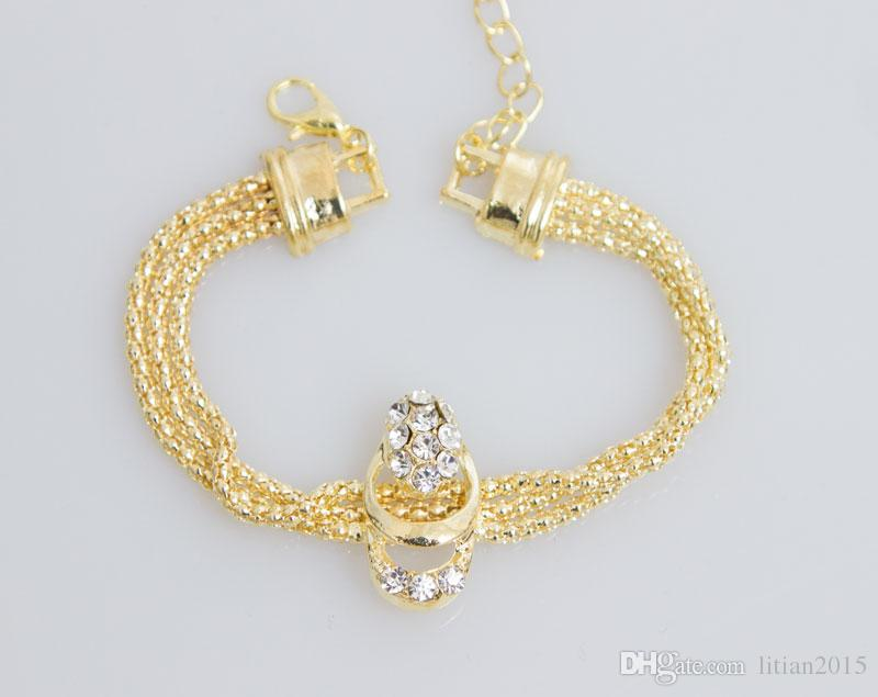 New Arrival Fashion Gold Plated Beads Collar Necklace Earrings Bracelet Fine Rings Sets Party Costume For Women