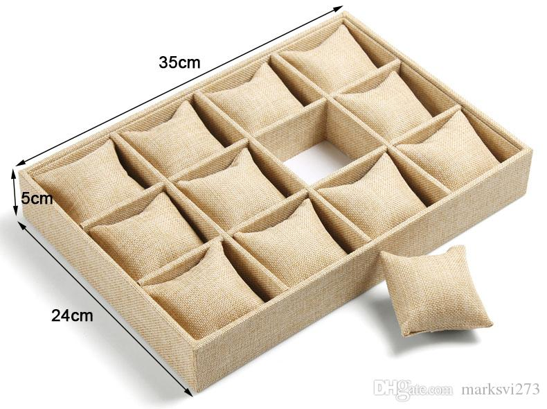 High-end Linen Jewelry Box Bracelet Watch Tray Jewelry Display Stand Holder Boutique Jewelry Storage 12 Grid Small Pillow Tray