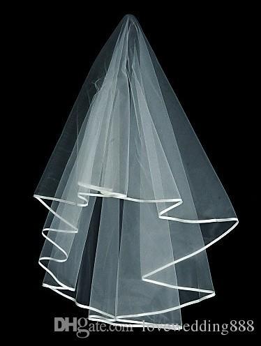 2019 marfim / véus de casamento branco acessórios de casamento curto véu véu véu um dos dedos do ali mesmo véu com fita borda