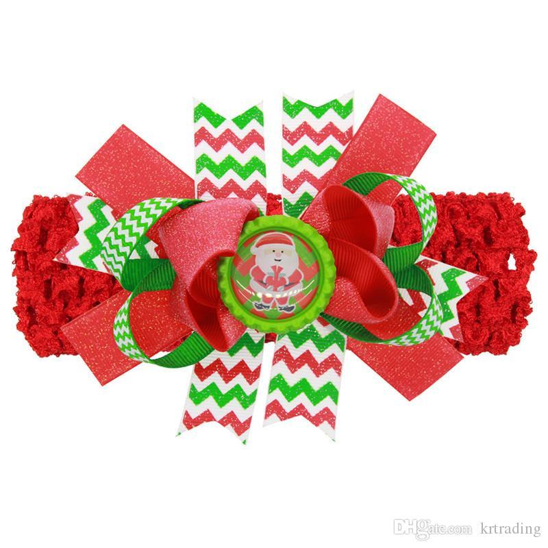 Kızlar Noel grogren şerit yay toka 2in1 tığ işi Hairband el yapımı mat şerit Büyük yay hairband çocuklar XMAS festivaller saç acc
