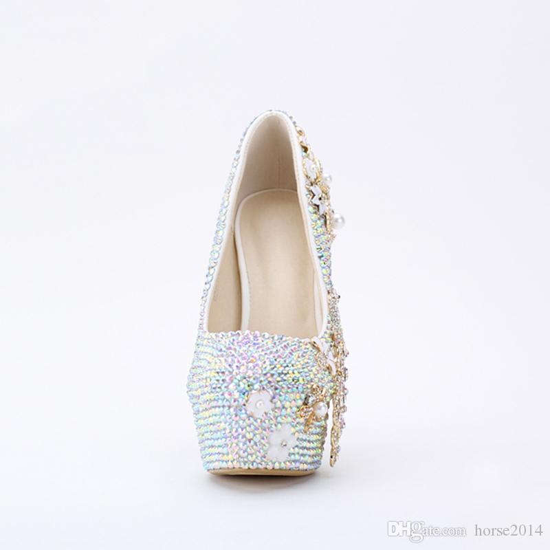 2019 Novo Design de Bling Bling Cor AB Sapatos de Casamento Strass Phoenix Mulheres Bombas Cerimônia Religiosa de Salto Alto Sapatos de Festa de Formatura