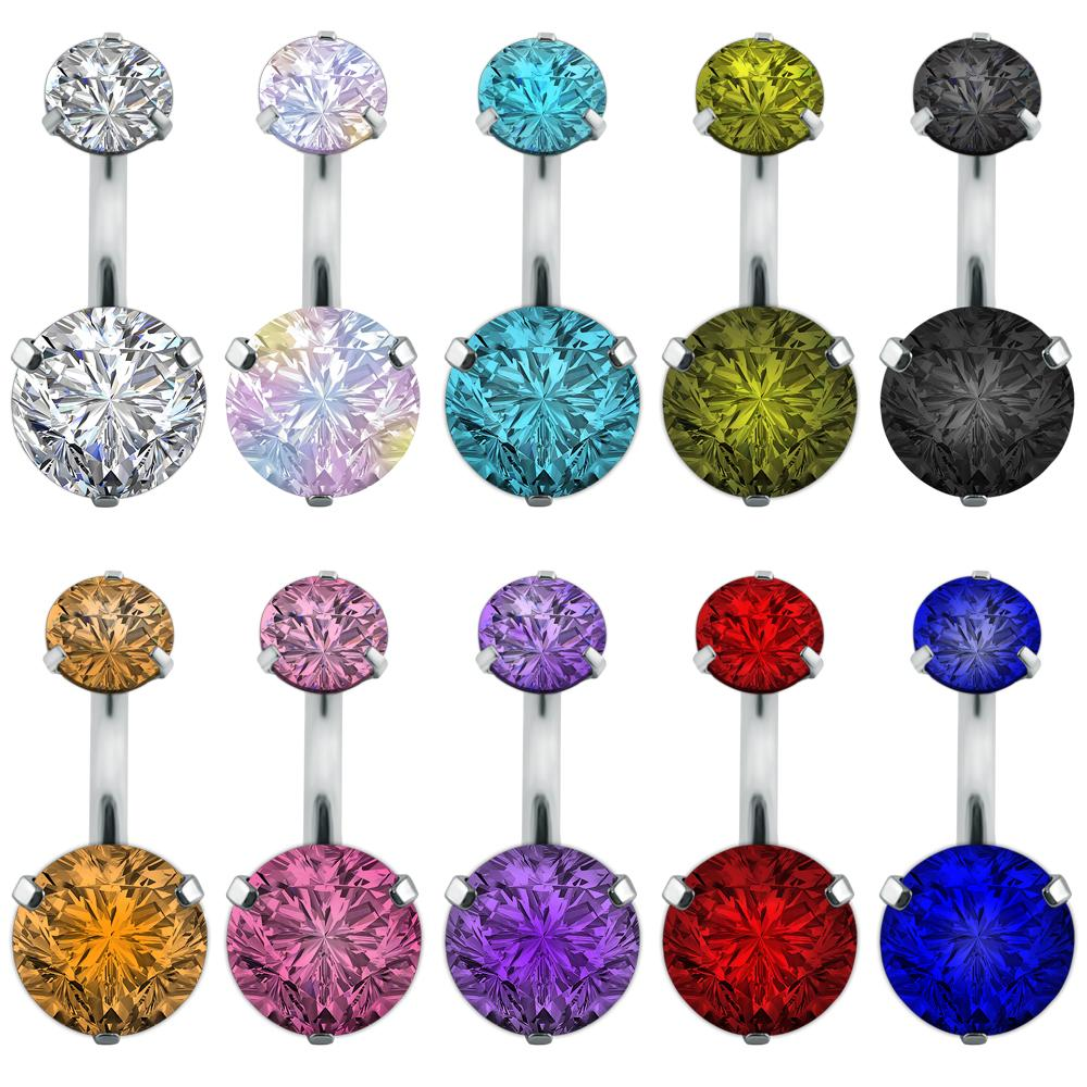 Double Crystal Rhinestone Navel Belly Button Ring Pircing Surgical Steel Real Belly Piercing Cute Navel Ringen Bar Navel Belly