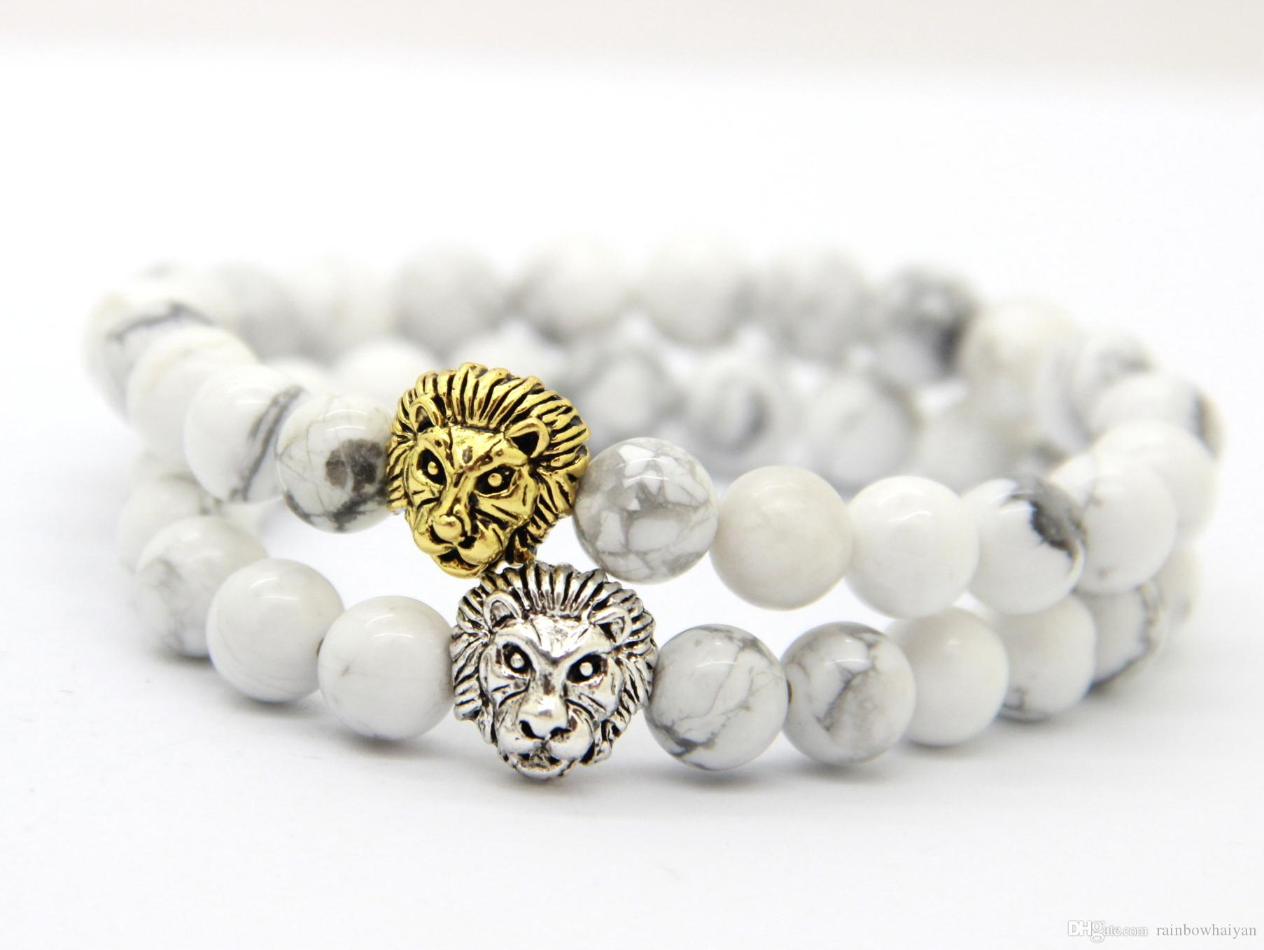 2015 Wholesale 8mm Natural White Howlite Stone Beads Antique Silver Lion Head Bracelets,Mens Gift New Design High Grade Jewelry