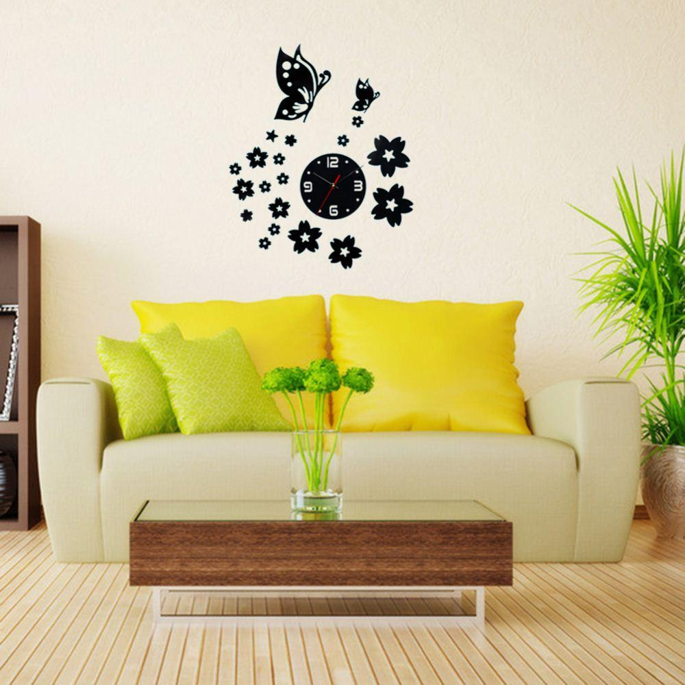 3d Wall Clocks Unique Butterfly And Flowers Design Mirror Face Wall ...