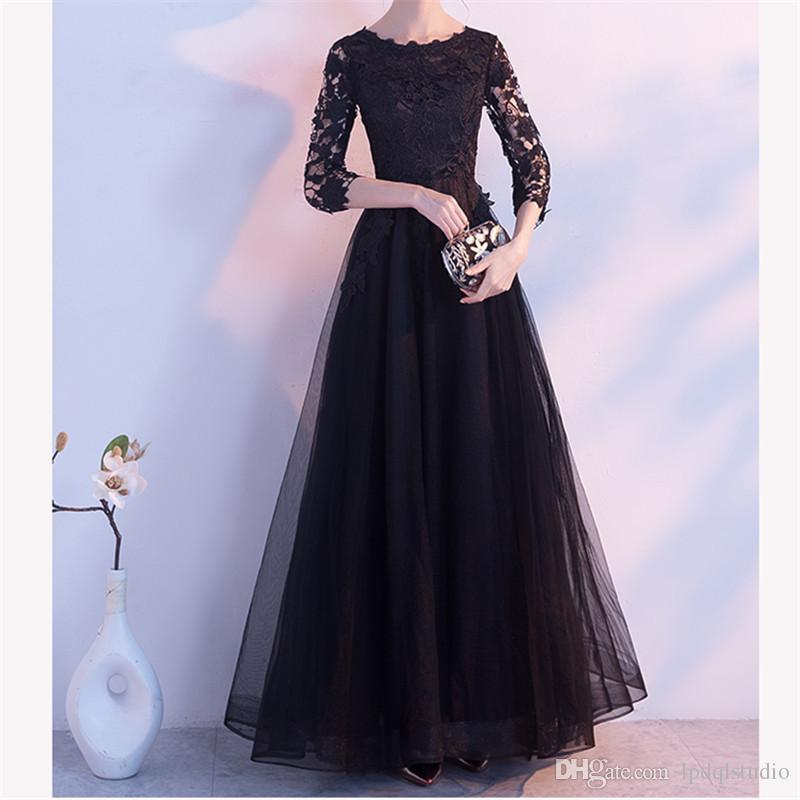 quality design d136c 41f53 Abito elegante nero, rosso, rosa, blu scuro lungo madre della sposa abiti  pizzo mezza manica mezza cerniera posteriore abito economico