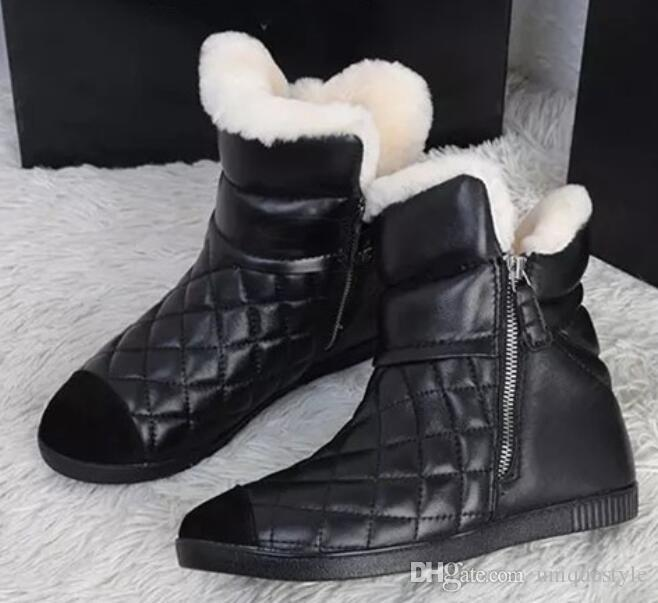d91bc46b67c Women Winter Genuine Leather Boots Top Quality Fashion Brand Plush ...