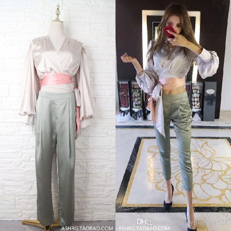 7be4b6b3c48e4 2019 New Design Fashion Women S Sexy V Neck Lantern Sleeve Sashes Satin  Blouse And High Waist Pencil Pants Twinset Suit SML From Honeytingting521