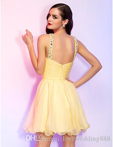 A-line Princess High Neck Short Mini Chiffon Cocktail Dresses With Beading And Crystal Detailing Prom/Evening Party Dresses