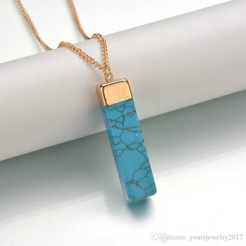 Quartz Stone Pendant Necklace Women Rectangle Natural Stone Pendants Natural Crystal Necklaces Fashion Jewelry