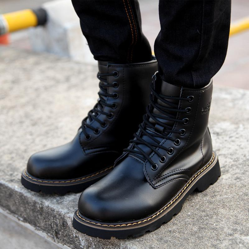 2016 Men Boots Martin Genuine Leather High Top Rubber